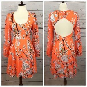Miss Me Neon Orange Coral Floral Dress